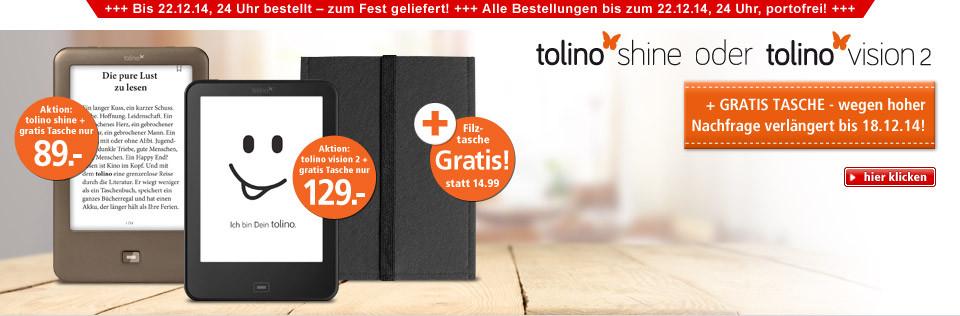tolino shine oder tolino vision 2 jetzt mit Gratis-Tasche