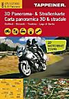 3D Panorama- & Straßenkarte Südtirol - Dolomiti - Trentino - Lago di Garda; Carta panoramica 3D & stradale Südtirol - Do