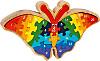 Holzpuzzle Zahlen-Schmetterling mit Rahmen