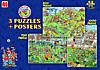 Jumbo Puzzle-Set Fußball, 500, 750 und 1000 Teile