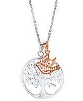 """Kette """"Baum des Lebens + Taube"""", 3 -tlg., mit Anhänger,  Silber 925, teilvergoldet"""