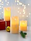 LED-Echtwachskerzen, 3er-Set (Farbe: elfenbein)