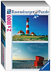 Ravensburger Puzzle Set Leuchtturm - Strandkorb, 2 x 1.000 Teile