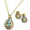 Schmuck-Set Kaiserliche Juwelen,  Collier mit Ohrsteckern, 925er Silber, mit blauen Topas-Steinen