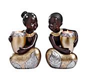 """Teelichthalter """"African Kids"""", 2er-Set"""