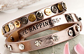 "Wickelarmband ""Love, Hope, Happiness"" (Farbe: Rosé)"